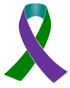 Purple, Teal and green Awareness Ribbon