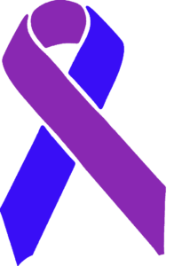 purple and blue awareness ribbon