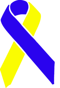 blue and yellow awareness ribbon