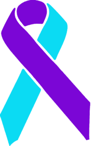purple and light blue awareness ribbon